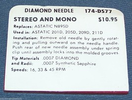 174-DS77 NEEDLE STYLUS for Astatic N89-sd fits Astatic 201D 205D 209D 211D image 2