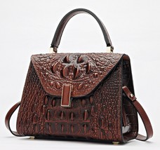 Crocodile Embossed Italian Leather Satchel Handbag Shoulder Bag Crossbod... - $164.95