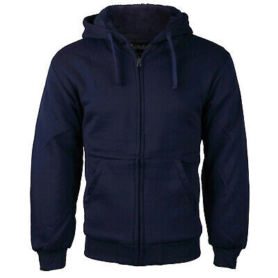 Men's Navy Athletic Sherpa Lined Zip Up Hoodie Sweater Jacket w/Defect - L