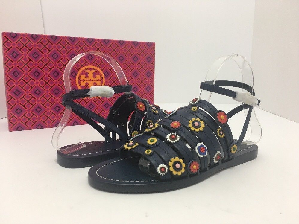 7cd16206a Tory Burch Marguerite Navy Leather Floral Women s Flats Sandals Size 7 M