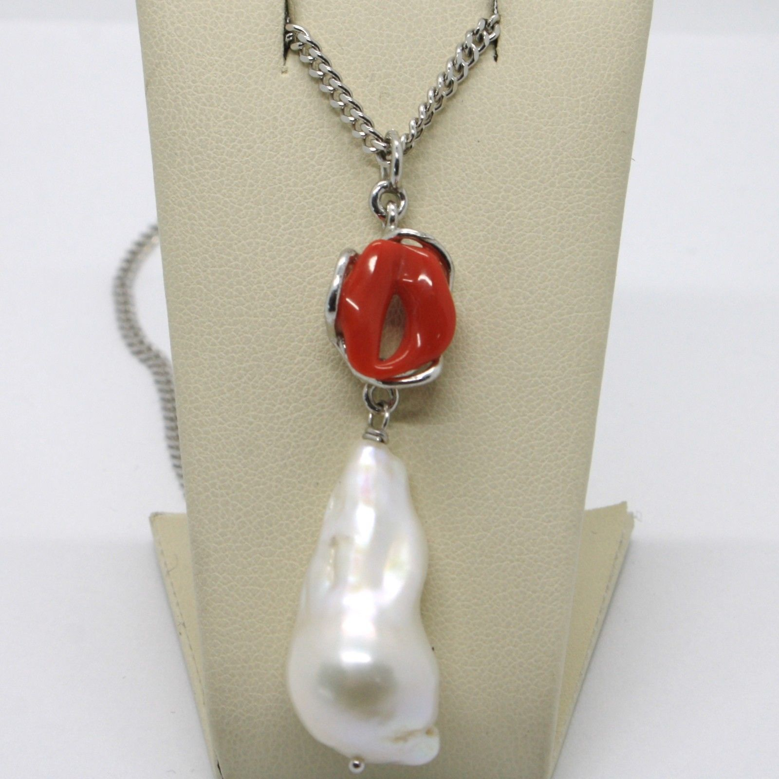 925 STERLING SILVER NECKLACE, RED CORAL, DROP WHITE BAROQUE PEARL, MADE IN ITALY