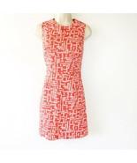 Shoshanna Sheath Dress Size 6 Womens Back Zip Red White Cotton Blend Lin... - $24.74