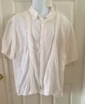CUBAVERA Men's XXL Hawaiian Shirt White Pockets Linen Blend Rockabilly C... - $17.59
