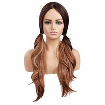 """Ama 26"""" Ombre Synthetic Wigs 1B/Blonde Dark Roots Long Wavy Synthetic Lace Front image 4"""