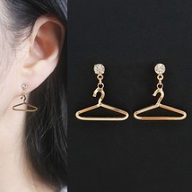 Minimal Coat Hanger Dangle Drop Earrings Rhinestone Brass Titanium Women... - $14.99