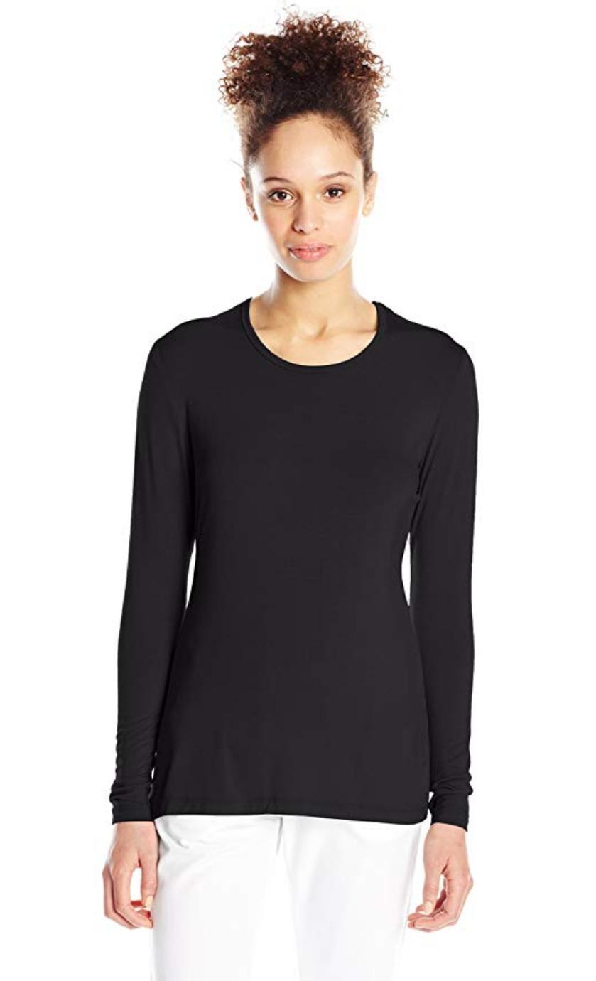 Cherokee Women's Long Sleeve Knit Medical Shirt #4881, Black, Small  - $10.39