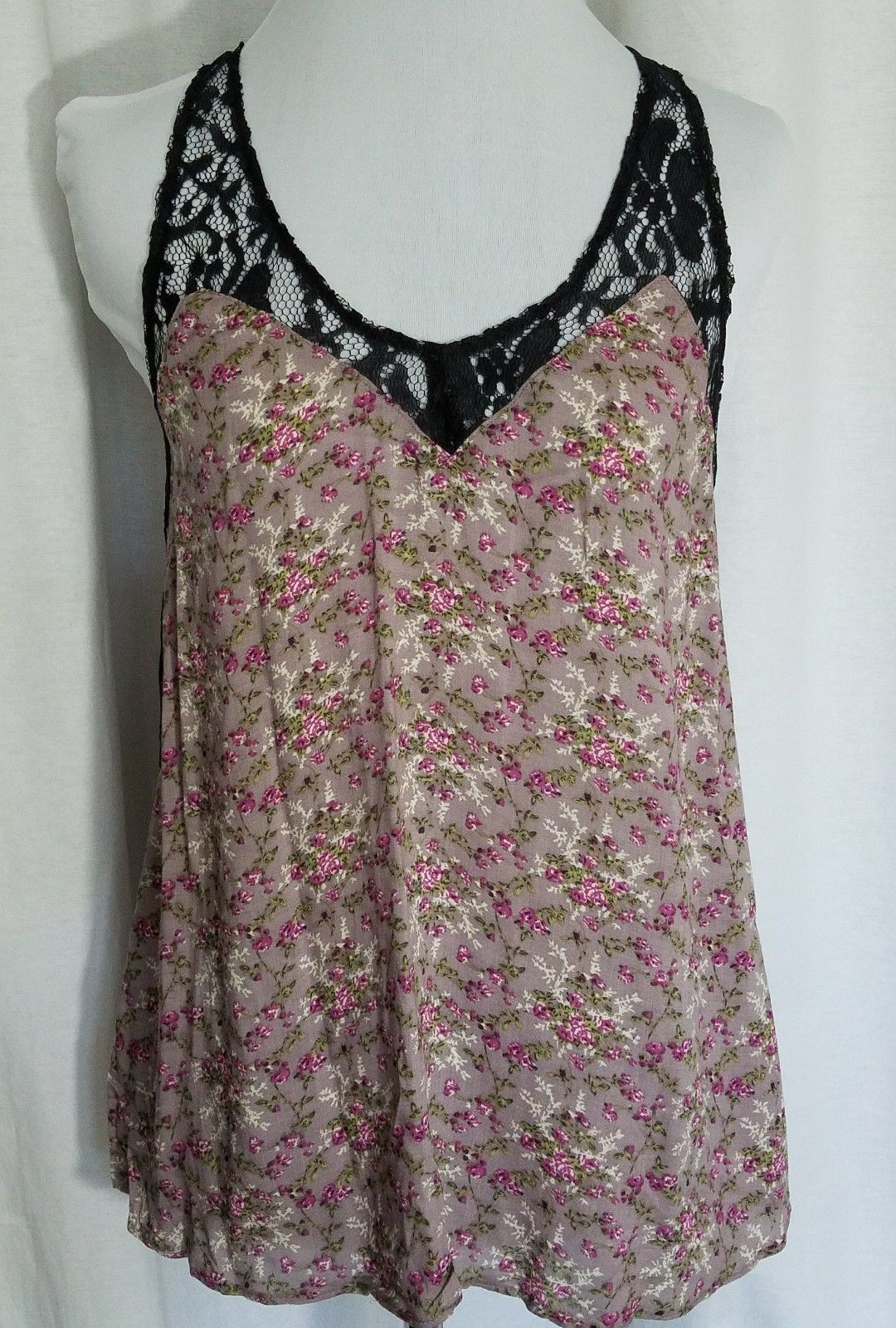 Iris Basic Pink Purple Floral Cami Top T Back Black Lace Trim Size M