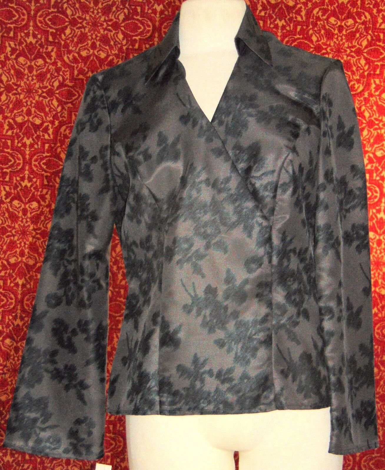 NINE & COMPANY gray polyester long sleeve faux wrap blouse 6 (T07-01I8G)