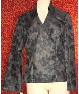 NINE & COMPANY gray polyester long sleeve faux wrap blouse 6 (T07-01I8G) - $9.88