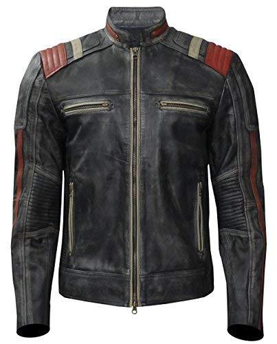 Cafe Racer Vintage Motorcycle Distressed Black Retro Slimfit Leather Jacket