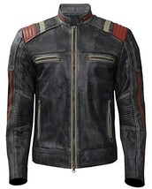 Cafe Racer Vintage Motorcycle Distressed Black Retro Slimfit Leather Jacket image 1