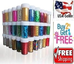 60 Colors Nail Art Tips Wraps Transfer Foil A1* US SELLER*BUY2GET1FREE - $23.99