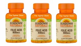 Lot of 3 Sundown Naturals Folic Acid 800 MCG 100 Tablets - 300 Total Tab... - $12.49