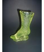 Vaseline Glass Button Pattern Shoe Boot Bouquet Holder Pat Applied For - $69.99