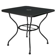 Outdoor Patio Dining Table Square Steel Frame Mesh Top Umbrella Stand Ho... - $225.59
