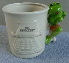 1980 Enesco Frog Ms Efficient Secretary Day Mug Pencil Holder Giftware Japan - $13.56