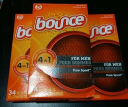 3x Bounce For Men Pure Sport Fabric Softener Sheets Dryer Sheets 34 Shee... - $48.00