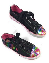 Skechers Fashion Sneakers Sporty Shorty Black, Rainbow Trim Women's 5 US, 37 EUR - $12.82