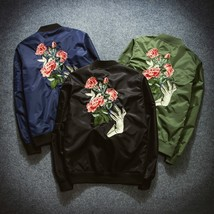 2018 New Mens Fashion Flight Bomber Jackets Male Back Embroidery Florale... - $62.22