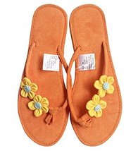 Fashion Summer Item, Orange Handmade Flower Flip Flop Beach Casual Sandals