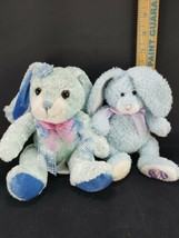 Lot 2 Easter Bunny Rabbit Blue White Pink bow Plush Stuffed Animal Beanie image 2
