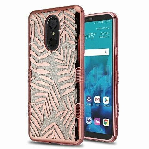 Dancing Palm Leaves Glitter TUFF Hybrid Case Cover for LG Stylo 4 Plus/Stylo 4
