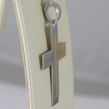 Pendentif Croix or Jaune Blanc 750 18K, Carrée, Alterné, Solide, Italie image 2