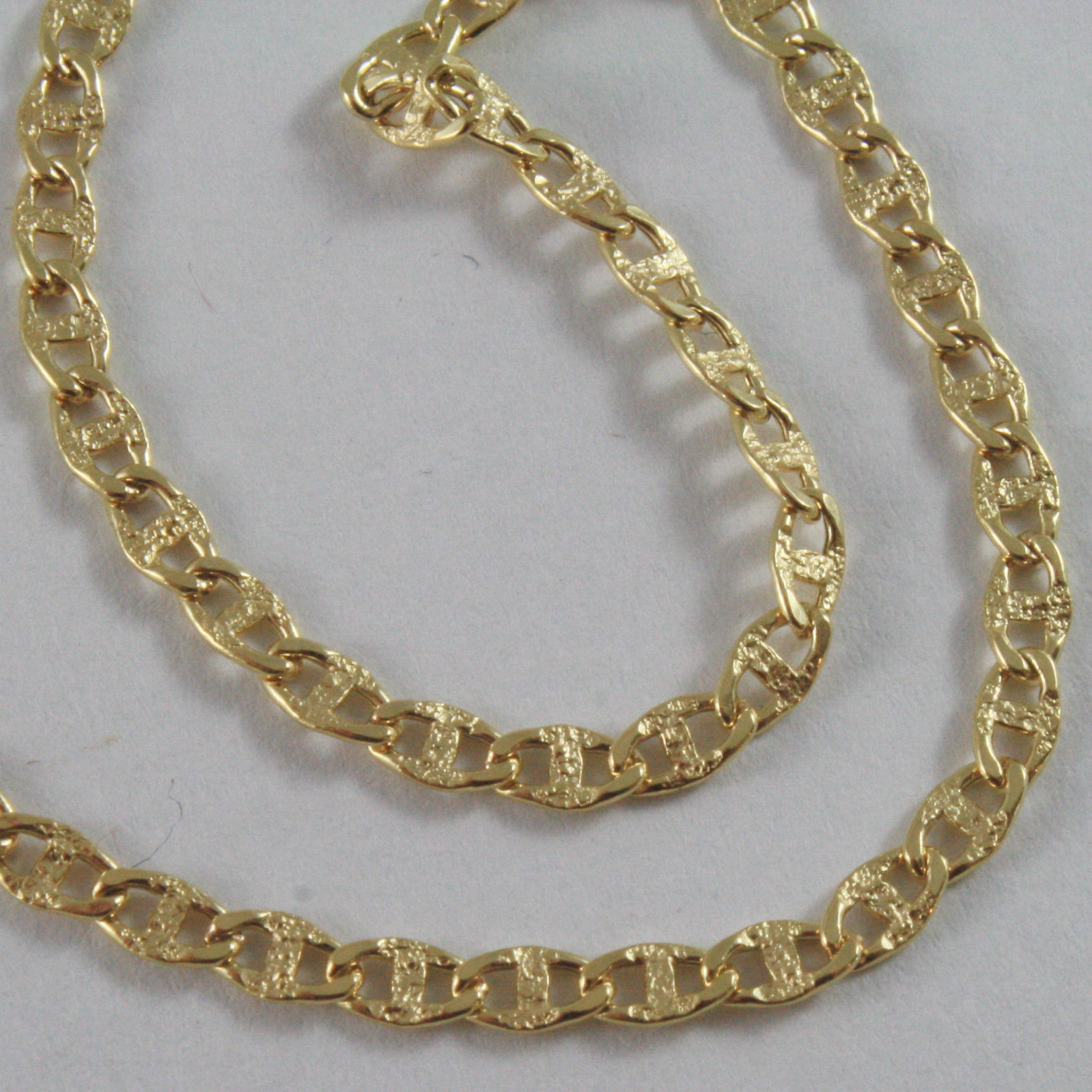 18K YELLOW GOLD CHAIN SAILORS NAVY MARINER LINK HAMMERED NECKLACE, MADE IN ITALY