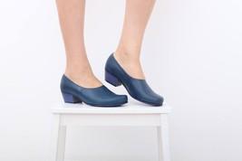 Women Lavender_Blue Pumps Matching Sole Low Cuban Heel Leather Handmade ... - £100.28 GBP+