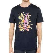 Men's Psycho Bunny Shirt Seymour Graphic Tee Shattered Neon Logo Navy T-shirt image 4