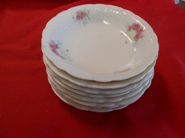 Beautiful ELBOGEN China-Pink Flowers-Made in AUSTRIA-Set of 8 BERRY BOWL... - $27.43