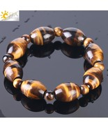 CSJA 2018 New Fashion Men Bracelet Natural Stone Tiger Eye Hematite Oval... - $18.45