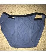Vintage Life by Jockey String Bikini Briefs Cotton Blue Wide Gusset Small - $3.88