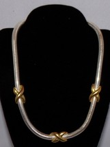 """Napier Necklace & Pierced Earring Set Vtg Costume Jewelry 15 3/4"""" Silver Gold - $25.08"""