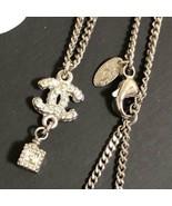CHANEL Pendant Necklace CC Logo Rhinestone with  Cube Chain MINT M3938 - $573.21