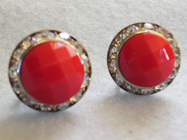 RED Faceted Cab CHANNEL RHINESTONE Frame Earring Silver Plate Screw Back... - $17.10 CAD