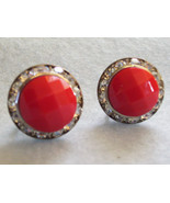 RED Faceted Cab CHANNEL RHINESTONE Frame Earring Silver Plate Screw Back... - $12.86