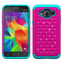 Tough Protective Case Cover for Samsung Galaxy J3 V / 2016  - Hot pink&C... - $4.99