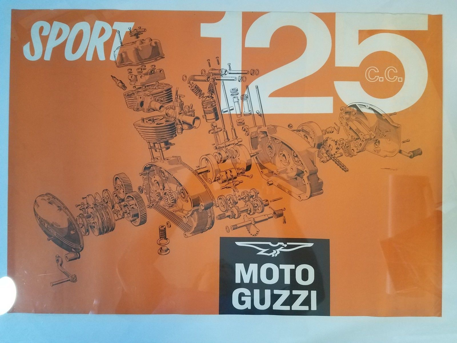 4f4866b261b Moto Guzzi 125 Sport Poster Exploded Engine and 20 similar items