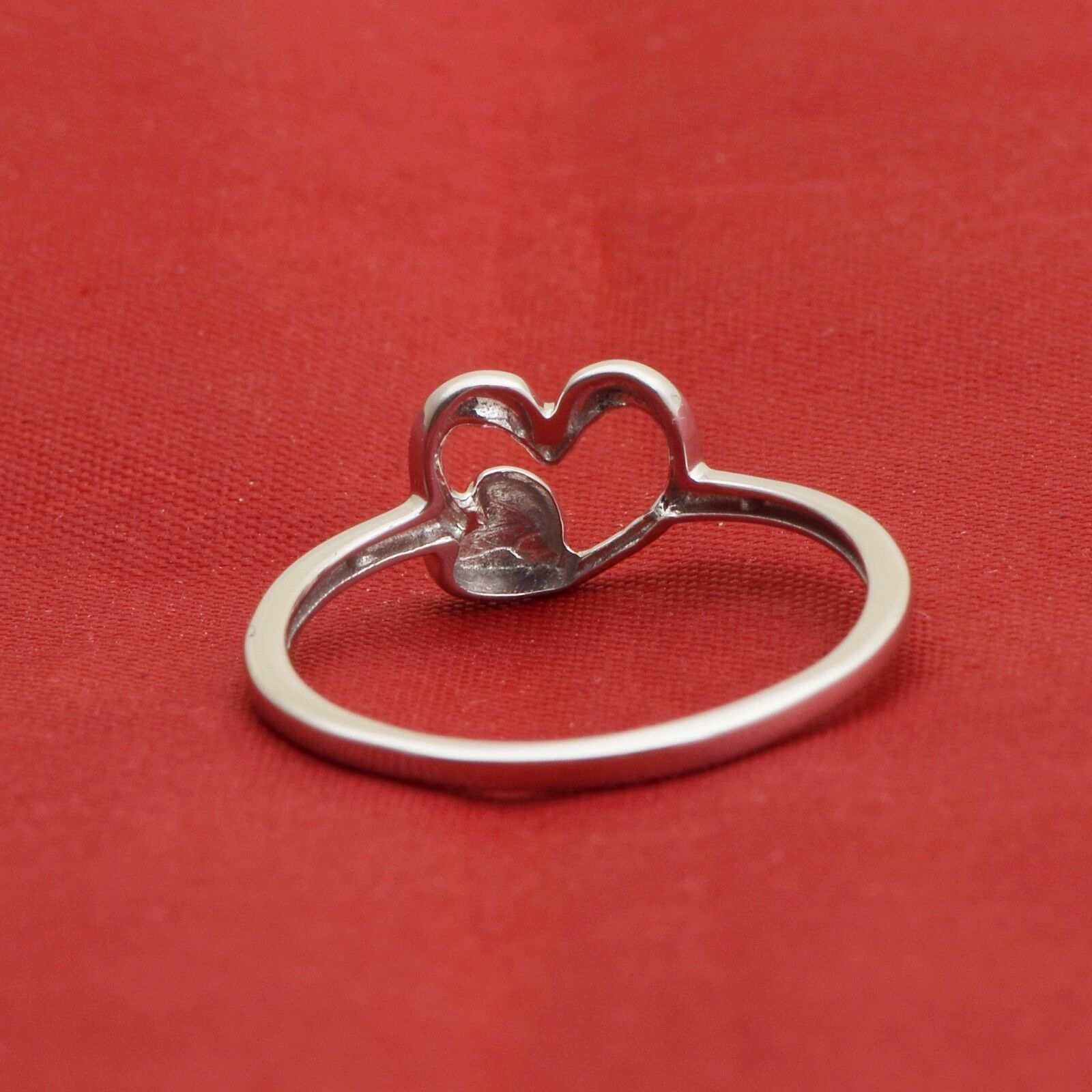 Top 925 Sterling Silver Double LOVE Heart Band Ring For Women Wedding Jewelry
