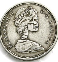 New Hobo Nickel 1967 Canadian Queen Elizabeth Regina Skull Skeleton Cast... - $11.39