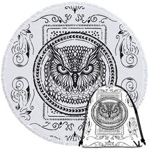 Black and White Owl Stamp Beach Towel - $12.32+
