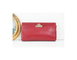 Auth Christian Dior France Red Leather Clutch handbag - £243.59 GBP