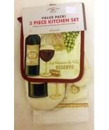 3 pc Kitchen Set: 1 Pot Holder, 1 Towel & 1 Oven Mitt, WINE & GRAPES LA ... - $10.88