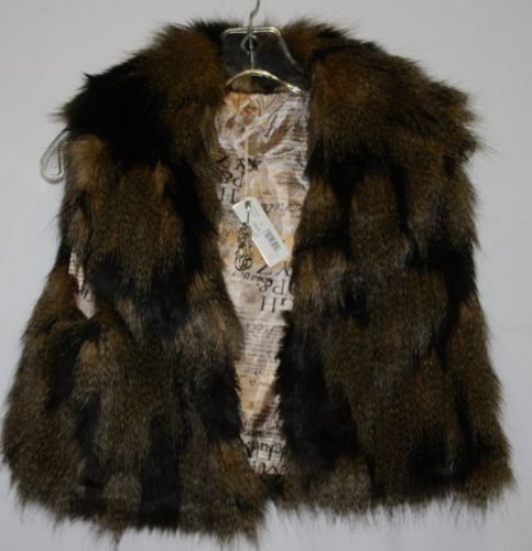 Riflessi WFV11 Faux Fur Cropped Vest Color Brown Size Medium Safety Pin Brooch