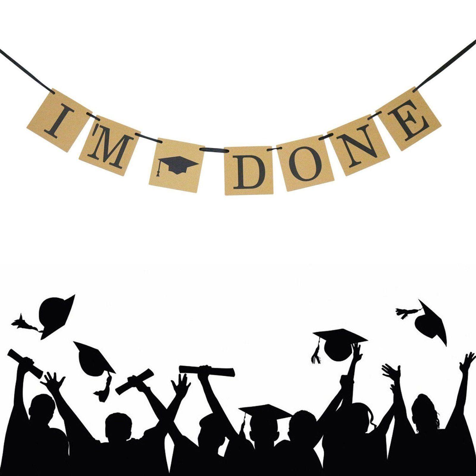 "Party Banner Graduation ""I'M DONE"" with Graduation Cap Symbol Streamer Decors"