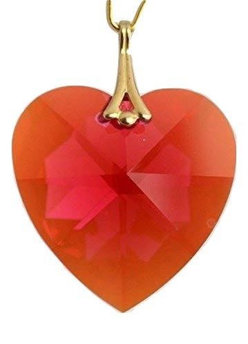 Swarovski 28mm Bordeaux Aurora Borealis Large Crystal Faceted Heart