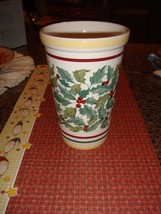 Longaberger Pottery Vase American Holly  - $23.99