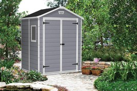 Outdoor Garden Storage Shed Plastic Double Doors Wall Ventilation Window... - $828.64