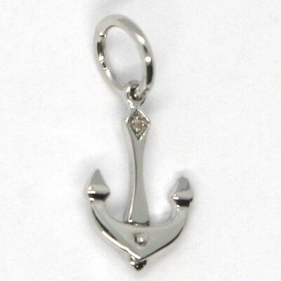 SOLID 18K WHITE GOLD PENDANT, NAUTICAL ANCHOR, LENGTH 0.85 INCHES, MADE IN ITALY